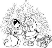 Santa Claus con il globo illustrazione vettoriale