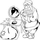 Santa Claus con il globo illustrazione di stock