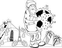 Santa Claus con il globo Immagine Stock