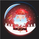 Santa Claus con il Natale fondo ed il vettore della cartolina d'auguri Illustrazione Vettoriale