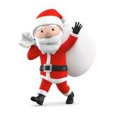 Santa Claus con il presente, illustrazione 3D Fotografie Stock