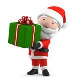 Santa Claus con il presente, illustrazione 3D Immagine Stock