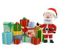 Santa Claus con il presente, illustrazione 3D Fotografia Stock