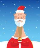 Santa Claus con il regalo sopra il fondo del paesaggio della neve Illustrazione Vettoriale