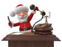 Santa Claus con il telefono e la maniglia Immagini Stock Libere da Diritti