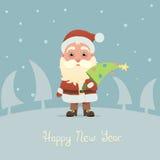 Santa Claus con l'albero di Natale Fotografia Stock