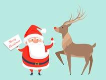 Santa Claus con l'illustrazione di vettore dell'icona della renna Fotografia Stock