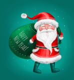 Santa Claus con la borsa, buon anno Immagine Stock