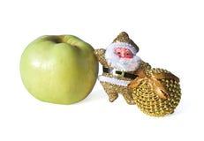 Santa Claus con la mela Fotografia Stock Libera da Diritti