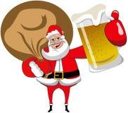 Santa Claus con la tazza di birra del sacco Fotografia Stock