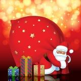 Santa Claus con las cajas rojas del saco y de regalo de diversos colores y stock de ilustración