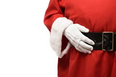 Santa Claus con las manos en la correa negra Imagen de archivo