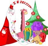 Santa Claus con los dulces en un árbol largo de la barba Foto de archivo