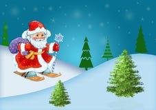 Santa Claus con los regalos a toda prisa ilustración del vector