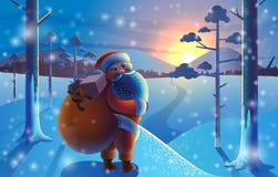Santa Claus con los regalos va al bosque feliz Cristo del invierno ilustración del vector