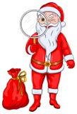 Santa Claus con magnifica el vidrio ilustración del vector