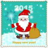 Santa Claus con su personal y su bolso en la nieve Fotografía de archivo libre de regalías