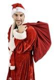Santa Claus con un bolso de regalos Foto de archivo libre de regalías