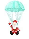 Santa Claus con un paracaídas Ejemplo del vector en estilo de la historieta Papá Noel aisló en el fondo blanco Imagen de la Navid Stock de ilustración