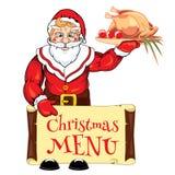 Santa Claus con un pato del menú y de carne asada con las manzanas en un disco Foto de archivo