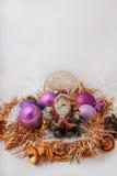 Santa Claus con un pupazzo di neve Fotografia Stock