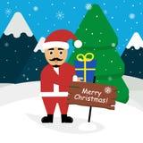 Santa Claus con un regalo in sue mani Paesaggio delle montagne, foresta, neve Progettazione piana moderna Immagine Stock