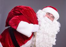 Santa Claus con una borsa Fotografia Stock Libera da Diritti