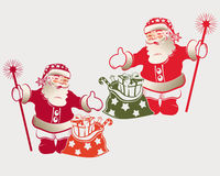 Santa Claus con una borsa illustrazione vettoriale