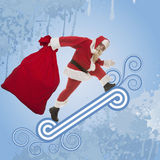 Santa Claus con una borsa dei regali Fotografia Stock