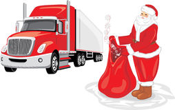 Santa Claus con una borsa dei regali Consegna di Natale Fotografia Stock Libera da Diritti
