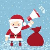 Santa Claus con una borsa dei regali e di tenuta del megafono illustrazione vettoriale