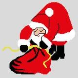 Santa Claus, Santa Claus con una borsa dei regali estratti dai quadrati, pixel Buon anno della cartolina d'auguri Illustrazione d fotografie stock libere da diritti