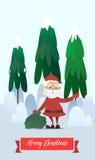 Santa Claus con una borsa di ondeggiamento dei regali Fotografia Stock Libera da Diritti