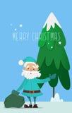 Santa Claus con una borsa di ondeggiamento dei regali Immagini Stock Libere da Diritti
