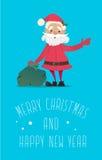 Santa Claus con una borsa di ondeggiamento dei regali Illustrazione di nuovo anno Fotografie Stock Libere da Diritti