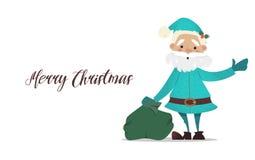 Santa Claus con una borsa di ondeggiamento dei regali Illustrazione di nuovo anno Fotografia Stock