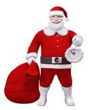 Santa Claus con una borsa e una rappresentazione dell'orologio 3d Immagini Stock Libere da Diritti