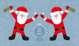Santa Claus con una bottiglia fotografie stock libere da diritti