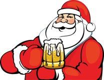 Santa Claus con una taza de cerveza Fotografía de archivo
