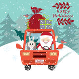 Santa Claus conduisant la voiture avec un lapin mignon illustration stock