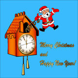 Santa Claus congratulates from a cuckoo clock Royalty Free Stock Photo