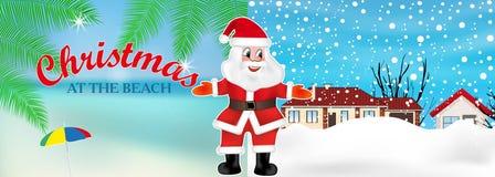 Santa Claus convida do inverno ao verão para comemorar o Natal na praia Vetor ilustração do vetor