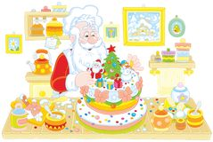 Santa Claus cooking a cake Royalty Free Stock Images