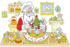 Santa Claus cooking a cake Stock Images