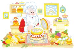 Santa Claus cooking Stock Photography