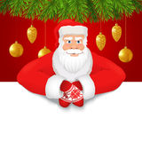 Santa Claus copy space red background Royalty Free Stock Photos