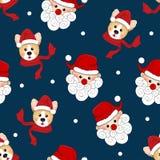 Santa Claus and Corgi with Red Scarf on Indigo Blue Background. Vector Illustration.  vector illustration