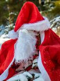 The Santa Claus costume with beards hangs on the spruc. E in the winter forest. A small tree in a snowy forest is covered in Santa Claus clothes. Christmas time royalty free stock images