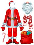 Santa Claus costume dress and Christmas accessories hat, mittens, beard, boots, bag with gifts, striped candy cane, scarf. Isolated on white vector cartoon Royalty Free Stock Image