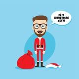 Santa claus costume skinny dad. Theme  illustration Stock Photos
